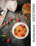 homemade granola from mix of... | Shutterstock . vector #1092739982