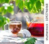 glass of black tea in double... | Shutterstock . vector #1092746468