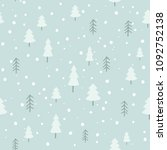 winter forest vector pattern in ... | Shutterstock .eps vector #1092752138