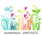Abstract background with color wave and drops, vector - stock vector