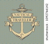 vector banner with a ship... | Shutterstock .eps vector #1092766142