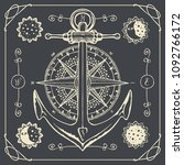 vector banner with anchor  wind ... | Shutterstock .eps vector #1092766172