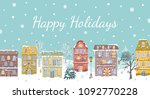 christmas card with vintage... | Shutterstock .eps vector #1092770228