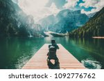 travel hiker taking photo of... | Shutterstock . vector #1092776762