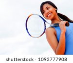 beautiful female tennis player... | Shutterstock . vector #1092777908