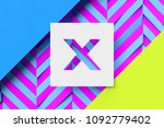 white letter x on cyan and lime ... | Shutterstock . vector #1092779402