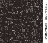 seamless pattern of doodle... | Shutterstock .eps vector #1092791312