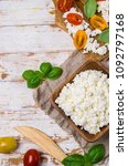 curd cheese in a dish with... | Shutterstock . vector #1092797168