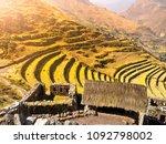 terraces of pisaq ruins. incan... | Shutterstock . vector #1092798002