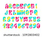 psychedelic font with colorful... | Shutterstock . vector #1092803402