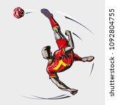 soccer player overhead kick  | Shutterstock .eps vector #1092804755