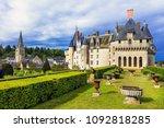 famous castles of loire valley  ... | Shutterstock . vector #1092818285