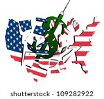 dollar smashing into us on a... | Shutterstock .eps vector #109282922
