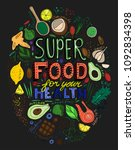 hand drawn superfoods kitchen...   Shutterstock .eps vector #1092834398