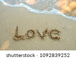 write the word love on the... | Shutterstock . vector #1092839252