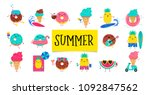 sweet summer   cute ice cream ... | Shutterstock .eps vector #1092847562
