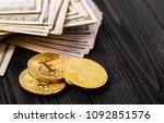 golden bitcoin coin on us... | Shutterstock . vector #1092851576