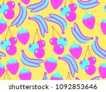 fruit seamless pattern. summer...   Shutterstock .eps vector #1092853646