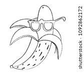 grunge trendy banana fruit with ... | Shutterstock .eps vector #1092862172