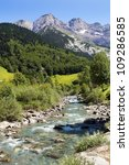 beautiful landscape with a mountain river in the French Pyrenees