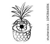 grunge tropical pineapple fruit ... | Shutterstock .eps vector #1092866006