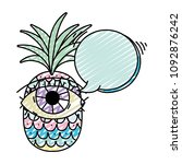 doodle pineapple fruit with eye ... | Shutterstock .eps vector #1092876242