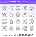 robot thin line icons set.... | Shutterstock .eps vector #1092880436