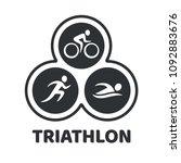 triathlon event logo. swim  run ... | Shutterstock .eps vector #1092883676