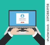 laptop with login form page on... | Shutterstock .eps vector #1092883958