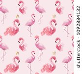 flamingo seamless pattern... | Shutterstock . vector #1092884132