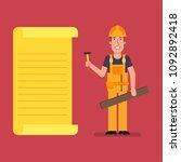 builder stands near paper list...   Shutterstock .eps vector #1092892418