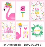 vector set of bright summer... | Shutterstock .eps vector #1092901958
