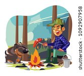 happy man amping with his dog... | Shutterstock .eps vector #1092907958