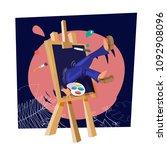 artist falling down into... | Shutterstock .eps vector #1092908096