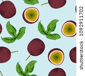 passion fruit seamless pattern  ... | Shutterstock .eps vector #1092911702