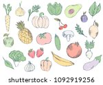 farm isolated fruits and... | Shutterstock .eps vector #1092919256