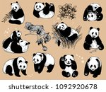 set of hand drawn sketch style... | Shutterstock .eps vector #1092920678