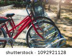 bicycle parking in tourist...   Shutterstock . vector #1092921128