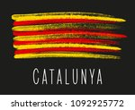 flag of catalonia on dark... | Shutterstock .eps vector #1092925772