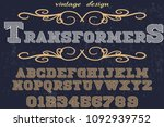 font handcrafted typeface... | Shutterstock .eps vector #1092939752