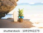 ripe attractive pineapple... | Shutterstock . vector #1092942275