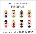 set flat icons people  smile... | Shutterstock . vector #1092945755