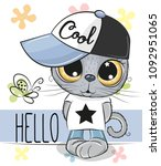 cute cartoon cat in a cap... | Shutterstock .eps vector #1092951065