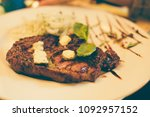 grilled beef steak with spices...   Shutterstock . vector #1092957152