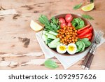 buddha bowl  healthy and...   Shutterstock . vector #1092957626