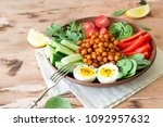 buddha bowl  healthy and...   Shutterstock . vector #1092957632