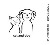 vector icon cat and dog. | Shutterstock . vector #1092960272