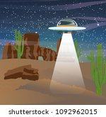 a flying saucer in the night... | Shutterstock .eps vector #1092962015