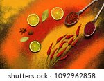 background of various spices ... | Shutterstock . vector #1092962858