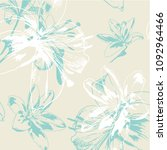 vector seamless lily pattern | Shutterstock .eps vector #1092964466